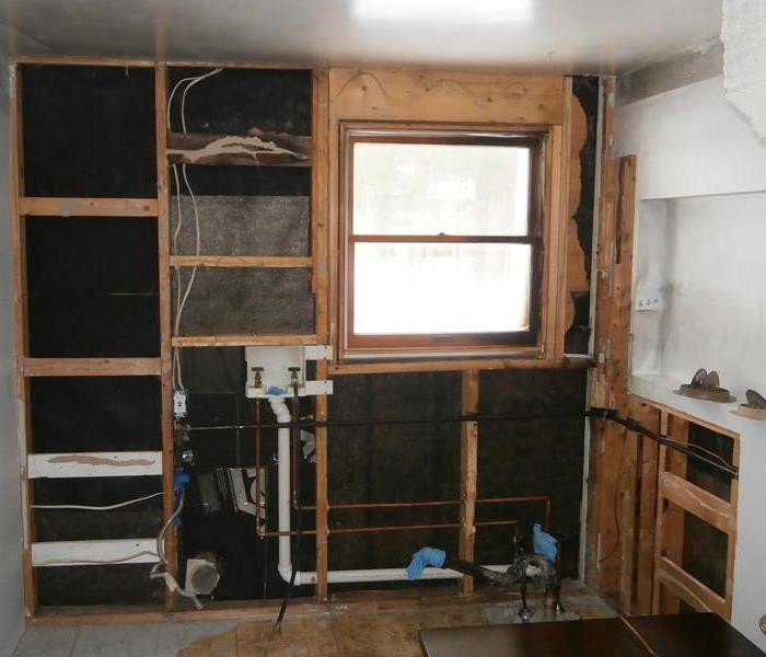Laundry room after fire damage was repaired