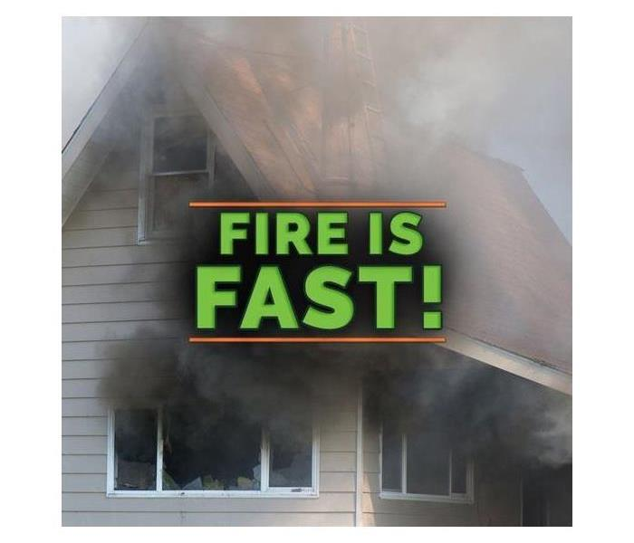 A house burning with text saying Fire is Fast