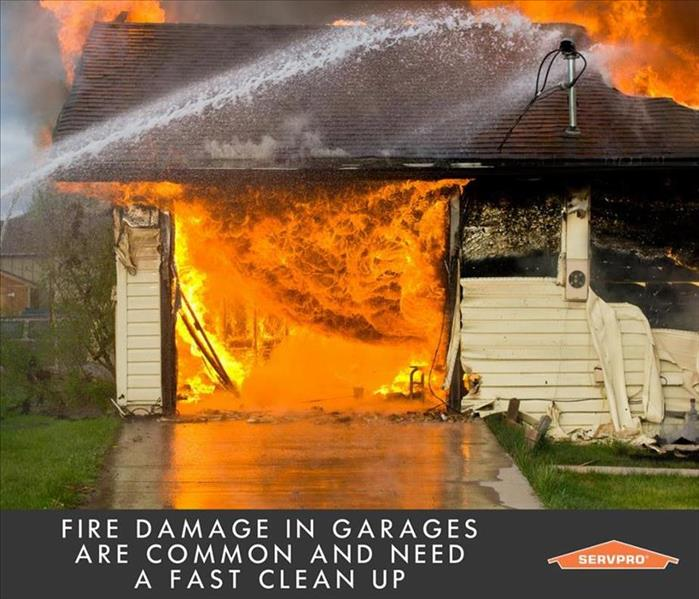 A garage on fire with wording saying a fire damages in garages are common and need a fast clean up. SERVPRO logo