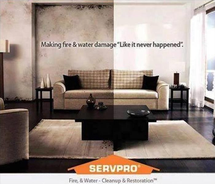 a living room shown with left side affected by fire damage and right side cleaned up with SERVPRO logo and tag line