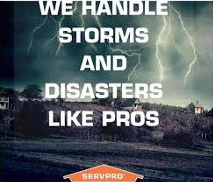 stormy background of houses and trees and text saying We handle storms and disasters like pros and SERVPRO logo below
