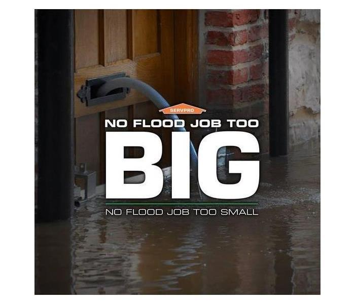 A front door with water coming out of mail box and SERVPRO logo with text saying No flood job to big no flood job too small